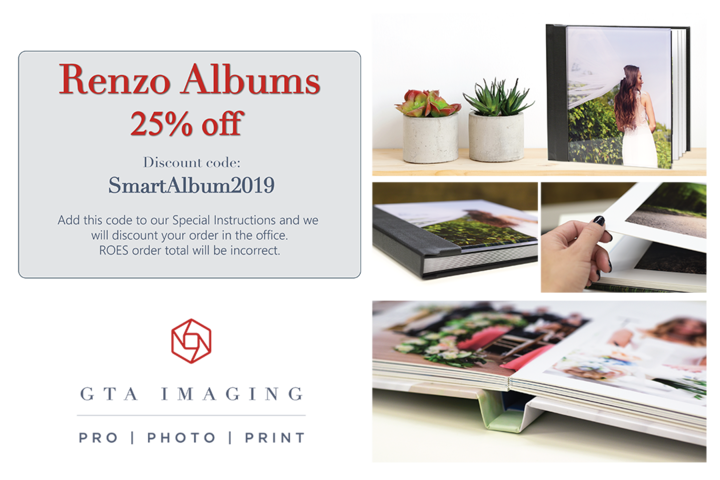 25% Off Renzo Photo Albums with GTA Imaging and SmartAlbums 2019